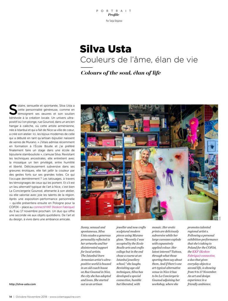 Côte Magazine - Octobre-novembre2018 - Silva Usta - Couleurs de l'âme élan de vie